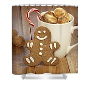 Hot Cocoa And Gingerbread Cookie Shower Curtain by Juli Scalzi