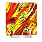 Hot Moving Lines And Dots Abstract Shower Curtain