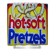 Hot Pretzels Shower Curtain by Skip Willits