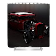 Hot Rod Ford Art Shower Curtain