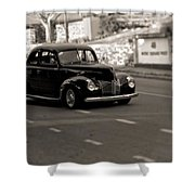 Hot Rod On The Street Shower Curtain