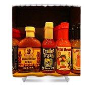 Hot Sauce Display Shelf Three Shower Curtain