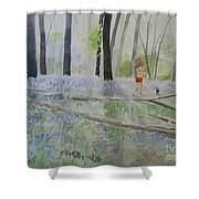 Hot Spring Bluebell Jogger Shower Curtain