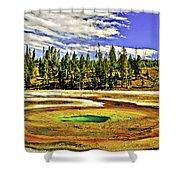 Prismatic Geyser Yellowstone National Park Shower Curtain