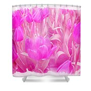 Hot Stuff   In Your Face Pink Tulips Shower Curtain