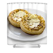 Hot Toasted Crumpets With Butter Shower Curtain
