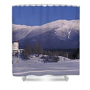 Hotel Near Snow Covered Mountains, Mt Shower Curtain