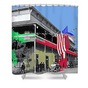 Hotel  Orndorff Colored American Flags Tucson Arizona Circa 1915-2012 Shower Curtain