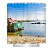 House And Boats On The River Shower Curtain