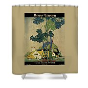 House And Garden Cover Shower Curtain by H. George Brandt