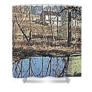 House And The Reflecting Pool Shower Curtain