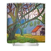 House And Trees Shower Curtain