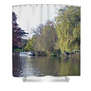 House Boat On River Avon Shower Curtain