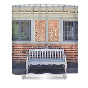 House Brick Exterior With Wood Bench Shower Curtain