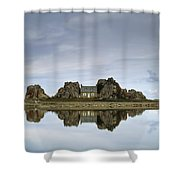 House In Between Rocks Reflected Shower Curtain