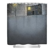 House In Snow With Lamp Shower Curtain