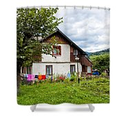 House In The Capathians Village Shower Curtain