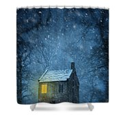 House In Woodland In Winter Shower Curtain