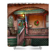 House - Porch - Metuchen Nj - That Yule Tide Spirit Shower Curtain by Mike Savad