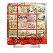 House Rendering Card Shower Curtain