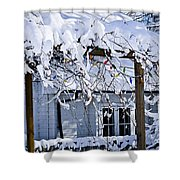 House Under Snow Shower Curtain by Elena Elisseeva