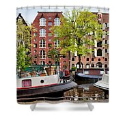 Houseboats And Houses On Brouwersgracht Canal In Amsterdam Shower Curtain