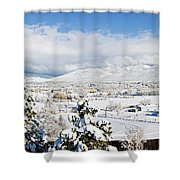 Houses And Trees Covered With Snow Shower Curtain