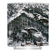 Houses In A Village In Winter, Tasch Shower Curtain
