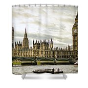 Houses Of Parliament On The Thames Shower Curtain