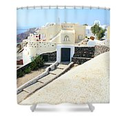 Houses Oia Santorini Shower Curtain