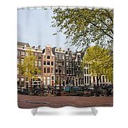 Houses On Singel Canal In Amsterdam Shower Curtain