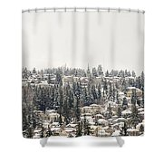 Houses On The Mountain In Winter Shower Curtain