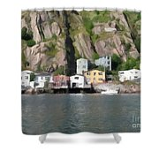 Houses With Expressive Brushstrokes Shower Curtain