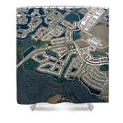 Housing Development Near Wetland Shower Curtain
