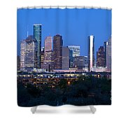 Houston Night Skyline Shower Curtain