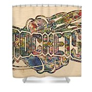 Houston Rockets Retro Poster Shower Curtain