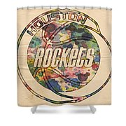 Houston Rockets Vintage Poster Shower Curtain