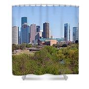 Houston Skyline And Buffalo Bayou Shower Curtain