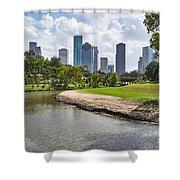 Houston Skyline On The Bayou Shower Curtain
