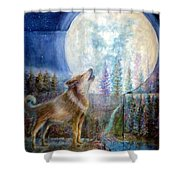 Wolf Howling And Full Moon Shower Curtain