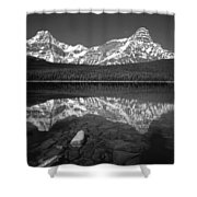 1m3643-bw-howse Peak Mt. Chephren Reflect-bw Shower Curtain