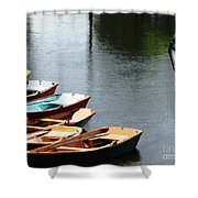 Hoyt Lakes Rowboats In Delaware Park Buffalo Ny Oil Painting Effect Shower Curtain