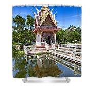 Hua Hin Temple Pond Shower Curtain