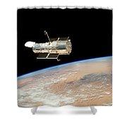 Hubble  Telescope  In  Orbit  Above  Earth Shower Curtain