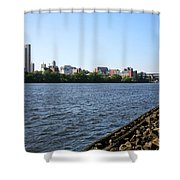 Hudson River And Albany Skyline Shower Curtain