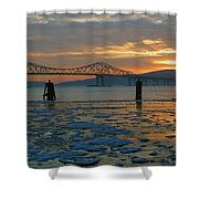 Hudson River Icey Sunset Shower Curtain