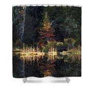 Huff Lake Reflection Shower Curtain