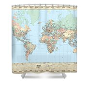Huge Hi Res Mercator Projection Political World Map   Shower Curtain