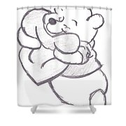Huggable Pooh Bear Shower Curtain by Melissa Vijay Bharwani