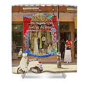 Hugs At Les Folles Allies Vintage Couture Friperie Farewell Goodbye Mont Royal City Scene C Spandau  Shower Curtain
